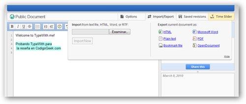 Typewith.me un poderoso editor de texto cooperativo online - typewith