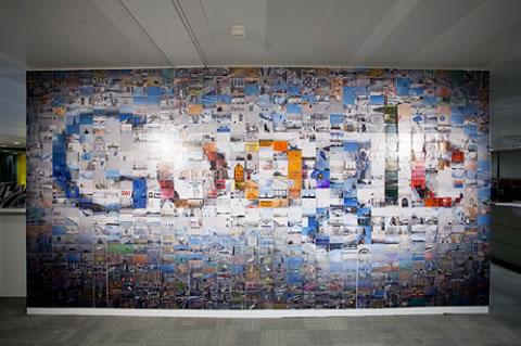 Un mural con el logo de Google construido con 884 fotografías - Mosaico-Google-logo-e1273773392794