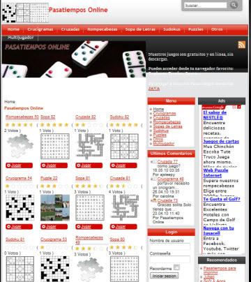 Pasatiempos Online Pasatiempos Online, ideal para entretenerse un rato