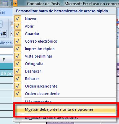 barra office 3 Personaliza la barra de herramientas de acceso rápido en Office 2007