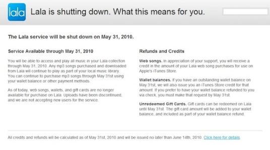 lala explicacion Apple cierra a Lala para anunciar un nuevo servicio