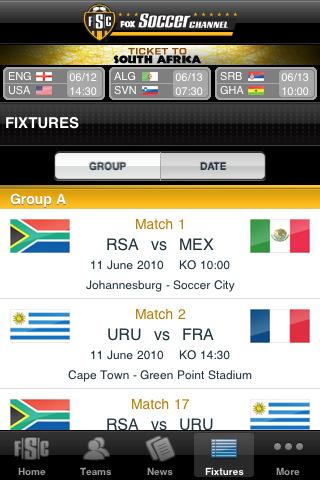 Mundial 2010 en iPhone - fox-soccer