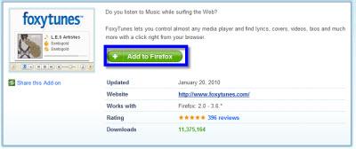 Controla tu reproductor de música desde Firefox - foxytunes-firefox