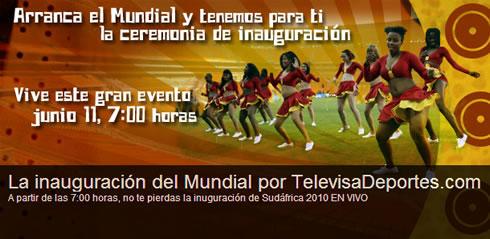 inauguracion mundial futbol en vivo Inauguracion del mundial 2010 en vivo