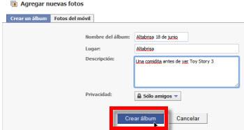 Como subir fotos a Facebook - nuevo-album-facebook