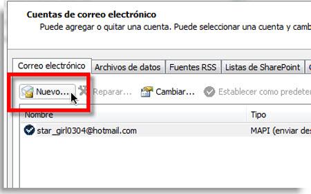 Agregar Gmail a Outlook 2010 usando IMAP - nuevo-correo-outlook