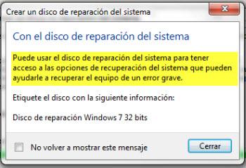 reparacion sistema Crear un disco de reparación de Sistema de Windows 7