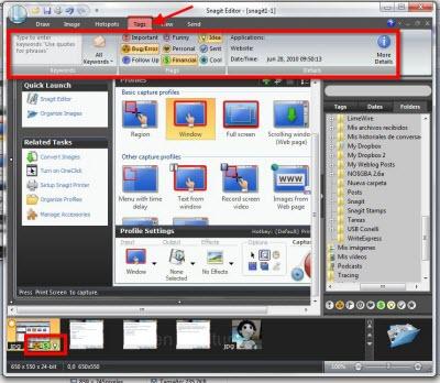 snagit editor tags Capturas de pantalla en Windows con Snagit