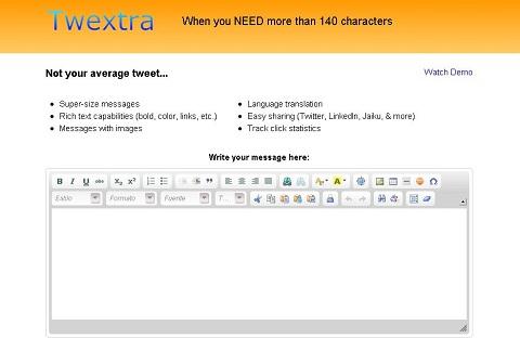 Escribir más de 140 caracteres en Twitter - twextra