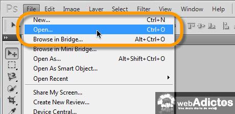 Definir una imagen como patrón en Photoshop - abrir-imagen-en-photoshop
