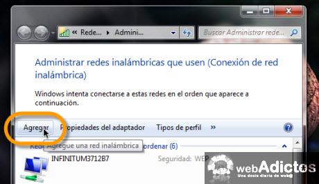 agregar red inalambrica Crear una red entre varios equipos en windows 7
