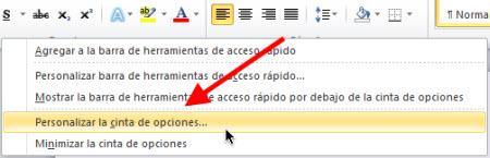 Personalizar pestañas de Office 2010 - cinta-de.opciones-office