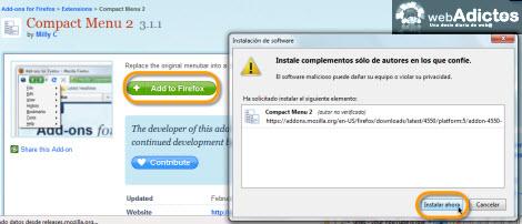 Compacta tu barra de herramientas en Firefox - compact-menu