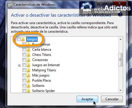desactivar juegos Desactivar juegos en Windows 7