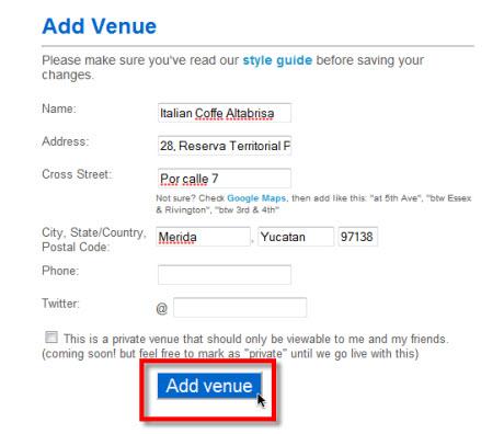 direccion en foursquare Agregar nueva localización en Foursquare