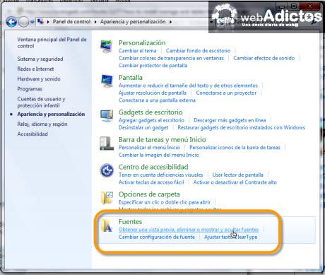 Desinstalar o eliminar una Fuente en Windows 7 - fuentes