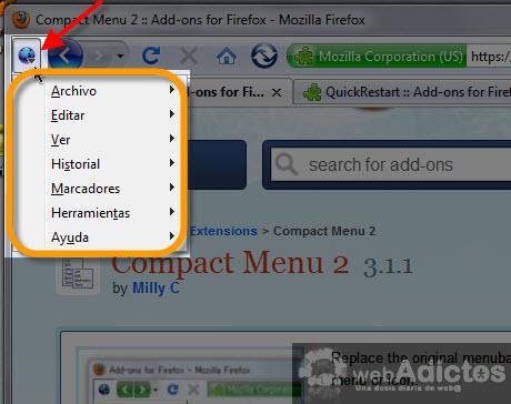Compacta tu barra de herramientas en Firefox - menu-compacto-firefox