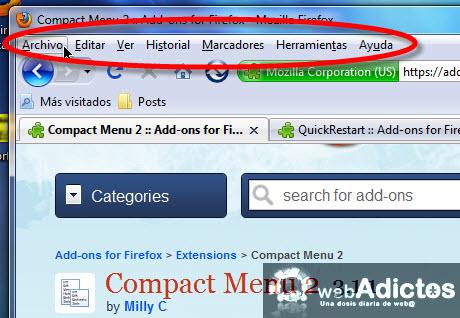 ocultar menu herramientas Compacta tu barra de herramientas en Firefox
