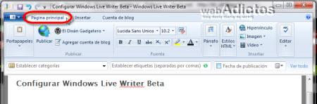 pagina principal windows live writer2 Configurar Windows Live Writer Beta