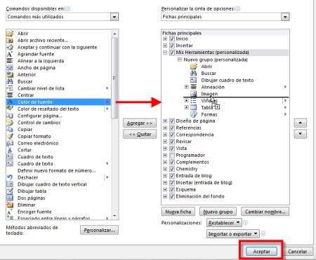personalizar herramientas office 2010 Personalizar pestañas de Office 2010