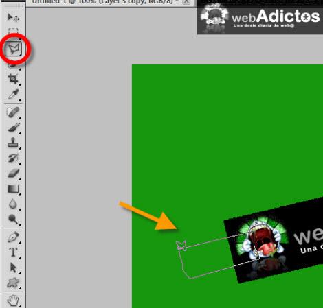 Crear una cinta adhesiva en Photoshop - polygonal-lasso-tool