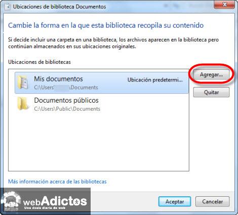 Cambiar la carpeta de guardado por defecto en Windows 7 - agregar-carpeta-guardar1