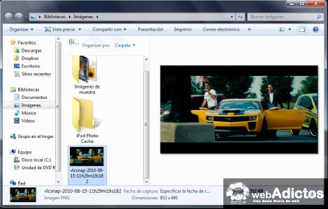 captura pelicula guardada Tomar capturas de una película con VLC