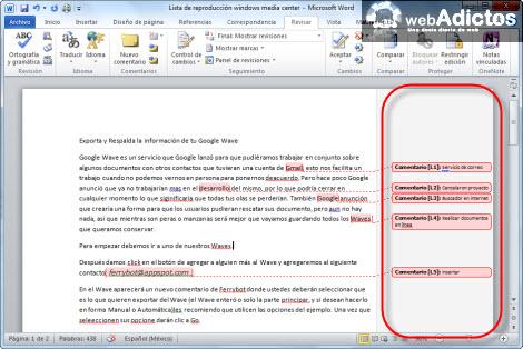 comentarios word Insertar comentarios en Word 2010