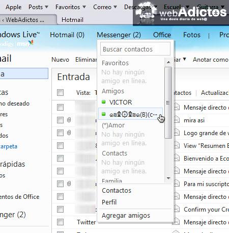 Aprende a abrir messenger en Hotmail - contactos-messenger
