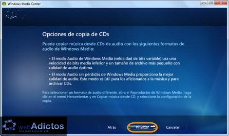 Copiar un CD desde Windows Media Center - copiar-cd-opciones