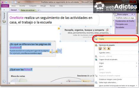 copiar nota onenote Importar una nota de OneNote 2010 a Evernote