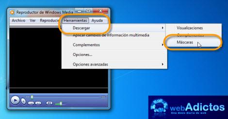 Aplicar una Máscara a Windows Media Player - descargar-mascaras