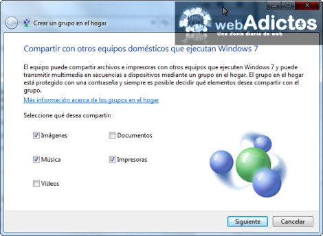 elegir archivos compartidos Crear un Grupo en el Hogar en Windows 7