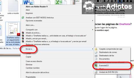 enviar a evernote Importar una nota de OneNote 2010 a Evernote