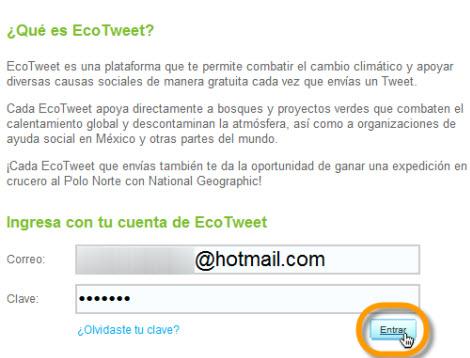 Ayuda al medio ambiente con tus tweets y EcoTweet - ingresar-ecotweet