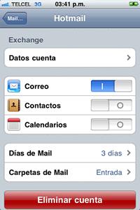iphone hotmail push Configuración Push hotmail