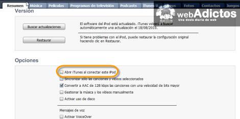 Carga tu iPod sin abrir iTunes - opciones-ipod-itunes