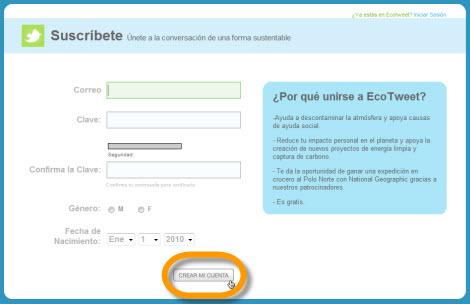 Ayuda al medio ambiente con tus tweets y EcoTweet - registrar-ecotweet