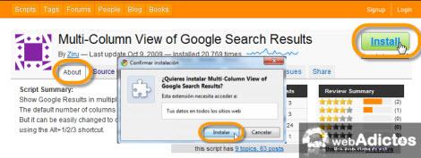 Permitir la búsqueda en multicolumas en Chrome - script-multicolumas-google