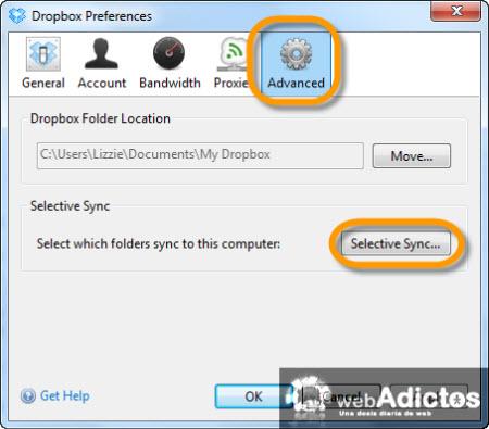 Sincronizar carpetas específicas con Dropbox - selective-sync