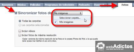Sincronizar imagenes con tu iPod/iPhone en iTunes - sincronizar-fotos-itunes