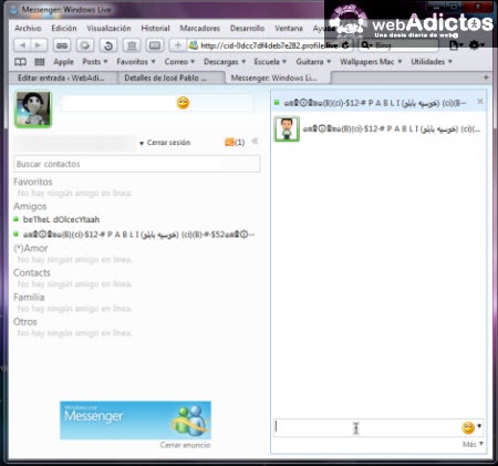 Aprende a abrir messenger en Hotmail - ventana-messenger-hotmail
