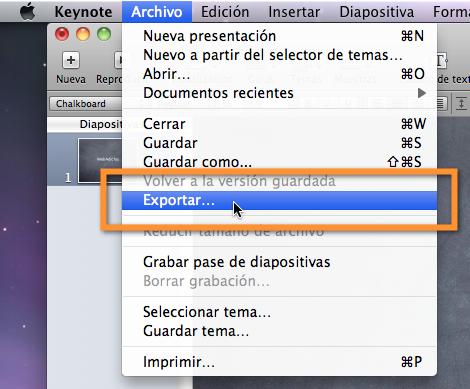 exportar keynote Crear un video a partir de una presentación en Keynote