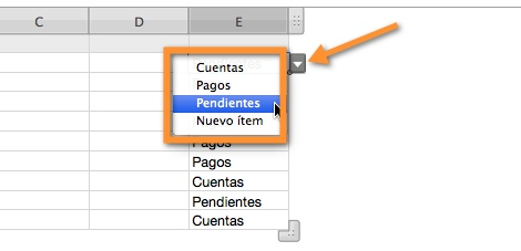 Agregar un menú desplegable a una tabla en Numbers - seleccionar-opciones-menu-desplegable-numbers