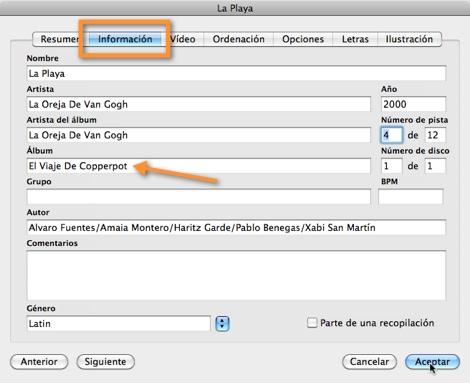 Mantener tus canciones ordenadas en iTunes - informacion-canciones-itunes