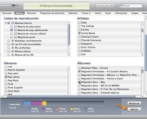 Como sincronizar música específica en tu iPod - itunes-sincronizar-albumes-artistas-listas