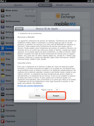 aceptar terminos Cómo activar Busca mi iPhone en iOS 4.2