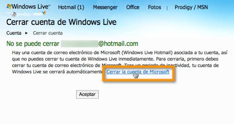 cerrar cuenta microsoft Desactivar tu cuenta de Hotmail