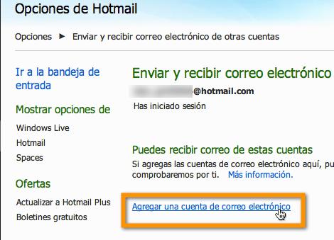 Agregar tus servicios de correo electrónico externo a Hotmail - hotmail-4