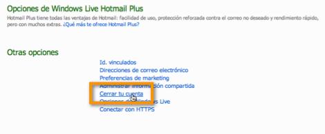 Desactivar tu cuenta de Hotmail - opciones-hotmail